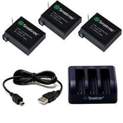 Smatree Battery 3 Pack And 3-channel Charger For Gopro Hero 4 - Not For Hero 5