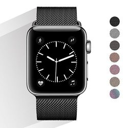 Rband Bands For Apple Watch 42MM Men And Women Milanese Metal Magnetic Mesh Loop Band For Apple Iwatch Series 3 2 1 Black