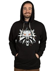 Jinx The Witcher 3 Men's White Wolf Medallion Pullover Hoodie Black Large