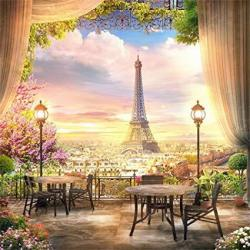 LFEEY 8X8FT French Dreamlike Paris Eiffel Tower Backdrop Curtain Flowers City View Photography Background Youtube Photo Booth St