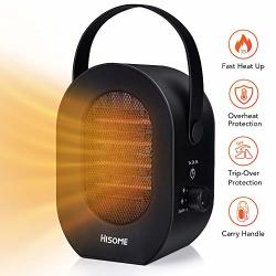 Hisome Portable Space Heater 600W 1200W Personal Space Heater Fan MINI Desktop Electric Warmer Indoor Space Heaters With Over Heat Protection Tip-over Protection-perfect For Home