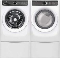 "Electrolux White Front Load Laundry Pair With EFLW427UIW 27"" Washer EFMG427UIW 27"" Gas Dryer And Two EPWD257UIW Pedestal"
