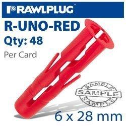 RawlPlug Universal Plug Red 6MM X 28MM X48-CLIP