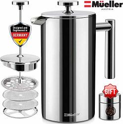 Mueller French Press 20% Heavier Duty Double Insulated 310 Stainless Steel Coffee Maker Multi-screen System 100% No Coffee Grounds Guarantee Rust-free Dishwasher Safe