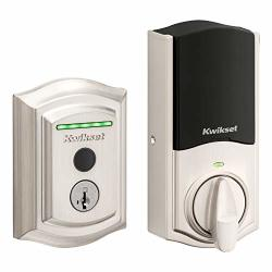 Halo Kwikset Touch Traditional Arched Wi-fi Fingerprint Smart Lock No Hub Required Featuring Smartkey Security In Satin Nickel 99590-001