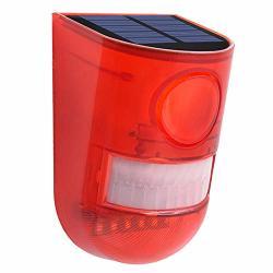 Allomn Solar Alarm Light Sound Alarm Strobe Light Pir Motion Sensor Security Alarm Warning Flashing Light 110DB 6 LED Red Light IP65 Waterproof Two