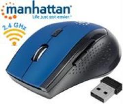 Manhattan Curve Wireless Optical Mouse - USB Five Button With Scroll Wheel 1600 Dpi Blue Black Retail Box Limited Lifetime War