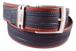 Gp&max Italian Leather Belt -nabuk Collection - 40 Mm - Mod. 4186 - Blue 38-42