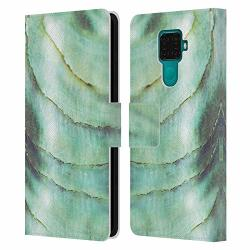 Official Monika Strigel Emerald Pastel Seashell Leather Book Wallet Case Cover Compatible For Huawei Nova 5I Pro mate 30 Lite