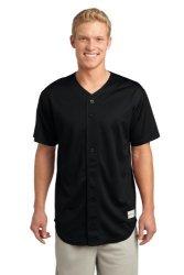 Sport-Tek Posicharge Tough Mesh Full-button Jersey 4XL Black ST220