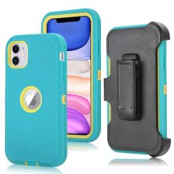 Tuff-luv Armour-tuff Rugged Case For Apple Iphone 11 - Turquoise yellow