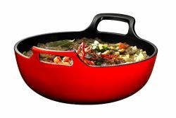 Cast Iron Enameled Balti Dish With Wide Loop Handles 3 Quart Fire Red