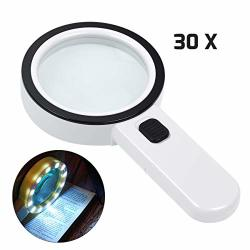 Magnifying Glass With Light 30X Handheld Large 12 LED Illuminated Lighted Magnifier For Macular Degeneration Seniors Reading Sol