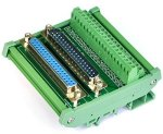 Electronics-Salon DB37 D-sub Din Rail Mount Interface Module Male Female Dsub Breakout Board.