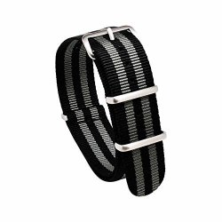 Nato Skull 20MM James Bond 5-STRIPE Black & Grey Nato Strap With Brushed Stainless Steel Buckles