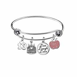 Niceter 13TH 18TH 21ST 30TH 40TH 50TH 60TH Birthday Gifts For Women Girls Adjustable Bracelet Bangle Stainless Steel Jewelry 13 Years Old
