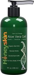 Natural & Organic Aloe Vera Gel - Body & Face Moisturizer For Sensitive Skin With Manuka Honey Apple & Orchid Stem Cells - Hydra