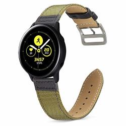 For Galaxy Watch Active 2 44MM 40MM Bands galaxy Watch 42MM Band Otopo 20MM Double Color Genuine Leather With Nylon Band Wrist Strap Bracelet Replacement