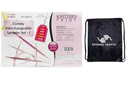 Studio Eclipse LLC Knitter's Pride Comby Sampler I Interchangeable Long Tip Knitting Needles With 1 Artsiga Crafts Project Bag 800191