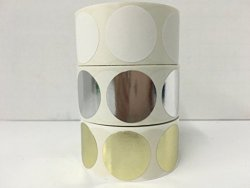 """Labels And More 3 Rolls Of 500 Labels Each Color 2"""" Round Blank Circle Color Coded Coding Inventory Quality Control Stickers Identification Dots 1 Roll Each: White Gold Silver"""