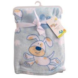 LITTLE ONE - Dog Generic Baby Flannel Fleece Throw Blue