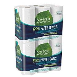 Seventh Generation Paper Towels 100% Recycled Paper 2-PLY 6 Roll 2 Pack 12 Rolls