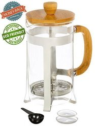 Urban Galley French Press Coffee Espresso Tea Maker With Stainless Steel Plunger Pyrex Glass And Bamboo Wood 1000ML 34OZ.