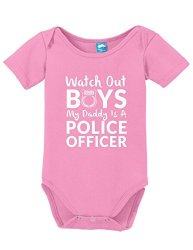 WATCH Out My Dads A Police Officer Funny Bodysuit Baby Romper Pink 18-24 Month