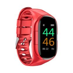 M1 0.96 Inch Tft Color Screen IP67 Waterproof Smart Bluetooth Earphone Bracelet Support Call Reminder Heart Rate Monitoring Blood Pressure Monitoring Sleep Monitoring Red