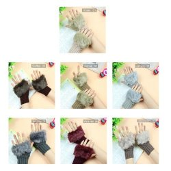 HiiBaby Lovely Faux Fur Fingerless Wrist Knitted Wool Mitten Gloves Winter Warm For Lady Khaki 02