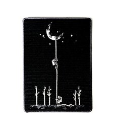 """Reach For The Moon"""" Astronauts Climbing Rope Into Space - Iron On Embroidered Patch Applique"""