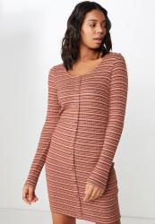 Cotton On Anissa Short Sleeve Bodycon Midi - Elsa Stripe Navy