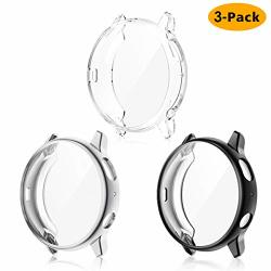 EZCO 3-PACK Screen Protector Case Compatible With Samsung Galaxy Watch Active 2 40MM 44MM Plated Soft Tup Case Full Coverage Screen Protective Cover