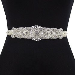 TOP Queen Women's Sash Style Diamond Beaded Bridal Sashes Belt Wedding Belts Sashes For Wedding Pink