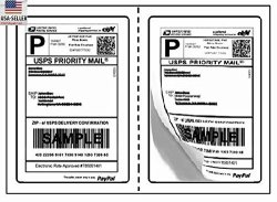 BESTeck Perforated Shipping Labels Round Corner 2 Labels Per Sheet Laser inkjet Printer For Usps Click-n-ship Ups Ebay Fedex Amazon 100 Sheets
