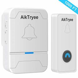 Wireless Doorbell Wireless Door Bell Chime Kit With LED Light Easy Install Over 1000-FEET Range 58 Chimes By Aiktryee Classic White