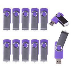 Lhn? Bulk 10 Pack 16GB Swivel USB Flash Drive USB 2.0 Memory Stick Purple