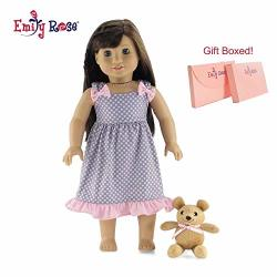 Emily Rose 18 Inch Doll Clothes Pink And Grey Polka Dot Nightgown Pjs With Teddy Bear Fits American Girl Dolls Gift Boxed