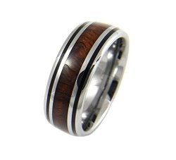 Arthur's Jewelry Genuine Inlay Hawaiian Koa Wood Band Ring Tungsten Comfort Fit Enamel Black Border 8MM Size 11