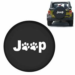 ROCCS 15 Spare Wheel Tire Cover with Dog Pets Paws Logo Waterproof r15 Wheel Tire Jeep Paw Dog Prints Covers for Vehicles Jeep Trailer RV SUV Camper,1PC