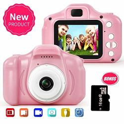 Yapeng Camera For Kids 5MP 1080P Kids Digital Video Toy Camera With 2.0 Inch Ips Screen And 16G Sd Card Pink