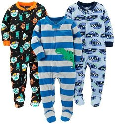 6878c4251f4a Simple Joys By Carter's Baby Boys' Toddler 3-PACK Flame Resistant Fleece  Footed Pajamas Racer Cars space dino 2T