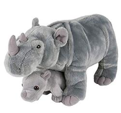 """Adventure Planet Birth Of Life Rhino And Baby Plush Toy 14"""" Long"""