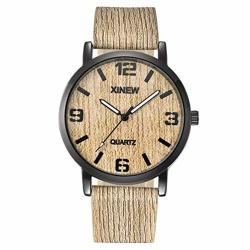 Axiba Men's Wood Texture Watch With Imitation Wooden Retro Leather Strap Japanese Quartz Movement Casual Watches B