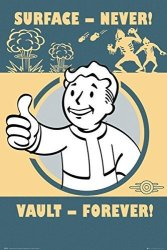 """POSTER STOP ONLINE Fallout 4 - Gaming Poster Print Vault-tec Vault Boy - Surface - Never Vault - Forever Size: 24"""" X 36"""" Clear Poster Hanger By"""