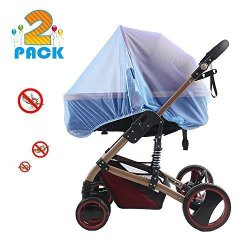 BooTaa 2 Pack Baby Mosquito Nets For Strollers Carriers Car Seats Cradles Fits Most Packnplays Cribs Bassinets Playpens Soft D
