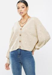 Missguided Polka Dot Balloon Sleeve Cardigan - Stone