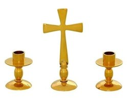 Altar Set - Cross With Matching Candle Holders