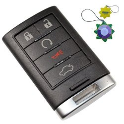 HQRP Remote Key Fob Shell Case Keyless Entry W 5 Buttons For Cadillac Cts 2008 2009 2010 2011 2012 2013 2014 Plus Uv Meter