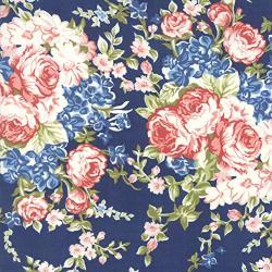 Moda Fabrics Mackinac Island Minick & Simpson Faded Roses Dark Blue